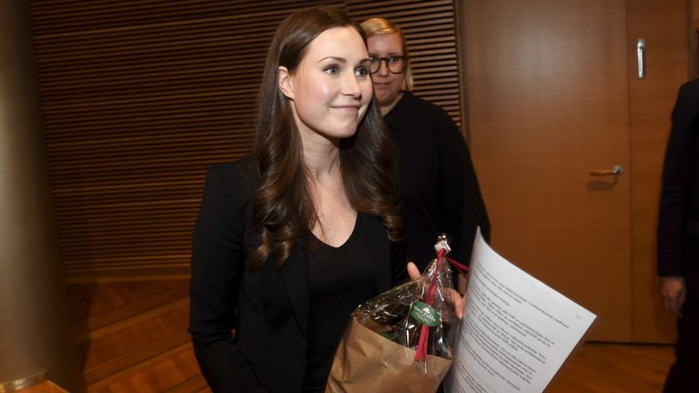 Sanna Marin pictured after she was elected to the post of prime minister